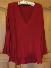 Zara Long Sleeve Red Blouse, Size M, VGC