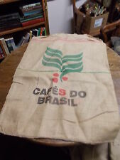 """#2 of 4, LARGE OLD VTG COFFEE SACK (FEED SACK SIZED) """"CAFES DO BRASIL"""" GOOD COND"""