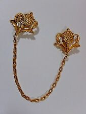VTG  SCOTTISH THISTLE KILT DOUBLE PIN CHAIN CHATELAINE GP BROOCH SIGNED M. JENT