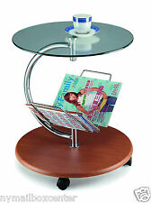 End Side Table Magazine Rack - Round Glass Top Wood Base & Chrome Accents
