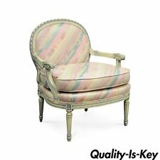 Vtg French Louis XVI Style Pink Blue Carved Bergere Boudoir Lounge Arm Chair