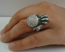 LARGE GUPPY FISH RING W/ 8 CT DIAMOND/ EMERALD /SZ 5-9 /925 STERLING SILVER