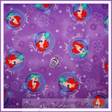 BonEful Fabric FQ Cotton Disney Little Mermaid Purple Flower Girl Princess Ariel