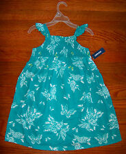 New! Girls OLD NAVY Bright Green Aqua & White Cotton Butterfly Dress Size 2T