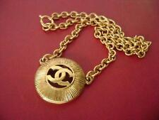 Chanel vintage CC logo pendant w/ chain choker necklace