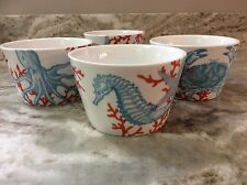 Coastal Life Blue Coral Dessert Bowls. 222 Fifth. Porcelain Set Of 4. New.