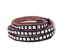 BROWN LEATHER MULTI LAYERS STUD SURFER BRACELET PUNK MENS WOMENS WRISTBAND