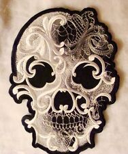 GHOST BAROQUE Goth punk sugar Skull Embroidered Iron on  Biker Patch 9.5  x 7