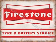 Vintage Garage Firestone Tyre & Battery Service Motor Car, Large Metal/Tin Sign