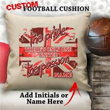 Personalised Manchester Utd Football Vintage Cushion Custom Cover Canvas Gift