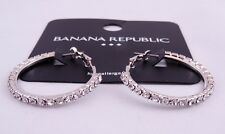 New Pair of Silver Hoop Earrings with Crystals from Banana Republic #BRE19