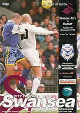 Swansea City v Barnet 8 Dec 1998 Auto Windscreens Shield  FOOTBALL PROGRAMME