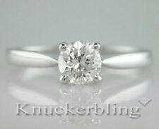 Certified 0.71ct Diamond Solitaire Ring Brilliant Cut 18ct White Gold F Colour