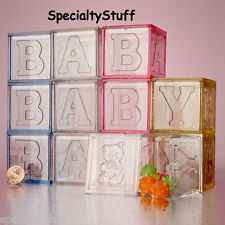 4 NEW PINK BABY BLOCKS PLASTIC FAVOR BOXES SPELL OUT 'BABY' TRANSPARENT ACRYLIC