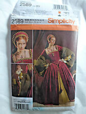 Simplicity Pattern #2589- Elizabethan/Tudor Gown, French Hood-Szs.8-16-BN/UC-OOP