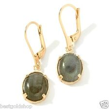 Technibond Labradorite Gemstone Leverback Earrings 14K Yellow Gold Clad Silver
