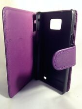 purple WALLET Leather Case Phone Cover Samsung Galaxy S2 II GT-I9100 Plain