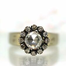Antique 14k White gold Natural Rose cut Diamond Cluster Cocktail ring .82ctw