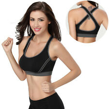 Womens Yoga Fitness Stretch Workout Tank Top Seamless Racerback Padded Sport Bra