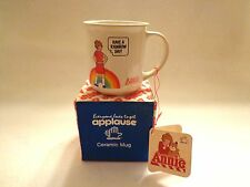 """LITTLE ORPHAN ANNIE PORCELAIN CUP """"HAVE A RAINBOW DAY"""" BY APPLAUSE - 1982-NIB"""