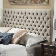 Button Tufted Sandy Beige Fabric Queen/Full Headboard