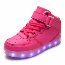 Kids Child High Top 7 LED Light Up Casual Shoes Boys Girls USB Luminous Sneakers