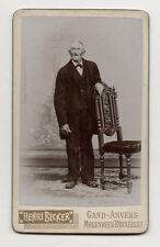 Photo - CDV - Homme Vieil Chaise - HENRI BECKER Gand Anvers Molenbeek Bruxelles