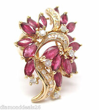 Estate Vintage 5.43CT Fine Ruby & Diamond Cluster Ballerina Ring 14K Yellow Gold