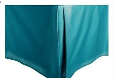 "Turquoise Solid Faux Silk Bed Skirt King Size Dust Ruffle Bedding 14"" Drop !"