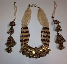 Jodha Akbar Style Jewellry Complete Set Silver: One Necklace And Two Earrings
