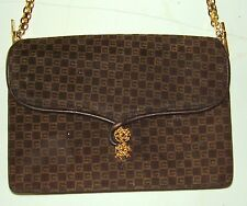 Genuine Gucci - Brown Suede Leather Shoulder Bag - Goldtone Chain Straps & Clasp