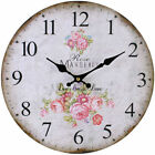 Large Rose Wooden WALL CLOCK Vintage French Style Antique Shabby Chic Distressed