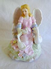 "ANGEL MUSIC BOX 6"" Plays Ave Maria White Geese Pastel Porcelain Figurine"