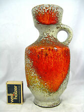"Karlsruher Majolika pottery / Keramik vase with a beautiful "" Lava "" glaze 22 cm"