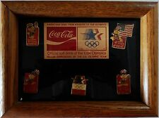 1984 Los Angeles Olympics Coca Cola COKE 5-pin set in wood frame