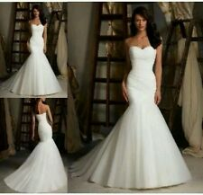 New White/Ivory organza Mermaid Wedding Dress Bridal Gown size 6--16 UK