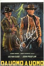 JOHN PHILLIP LAW SIGNED DEATH RIDES A HORSE POSTER AUTOGRAPH COA LEE VAN CLEEF