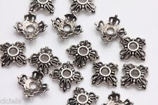 100Pcs Tibetan Silver Flower Loose Spacer Beads End Beads Making Jewelry Craft
