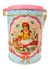 Wu & Wu Sugar Tin - Vintage Style Girl Reading Recipes Storage Container