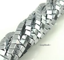 6MM SILVER HEMATITE GEMSTONE SILVER SQUARE CUBE 6X6MM LOOSE BEADS 15.5""