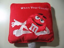 "11"" x 11"" plush Red M&M pillow (Who's Your Candy?), good condition"