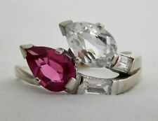 ANTIQUE VINTAGE BADEN & FOSS 14K WHITE GOLD SYNTHETIC DIAMOND & RUBY RING SZ 8
