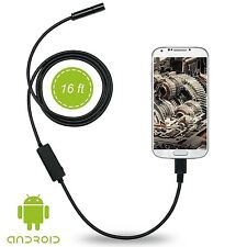 Pipe Inspection Camera HD 2MP USB Android Endoscope Video Sewer Waterproof 16 ft