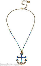 Betsey Johnson B09911-N01 Ship Shape Short Pave Anchor Chain Necklace Jewelry