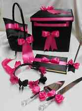 Black Hot Pink Fuchsia Flower Girl Basket Halo Ring Pillow Guest Book Card Box