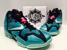 NIKE LEBRON XI 11 SOUTH BEACH BLACK PINK MINT TURQUOISE 616175 330 sz 11