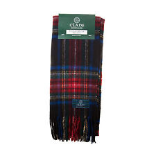 Great Gift: Pure New Wool Tartan Scottish Clan Scarf - Stewart Black