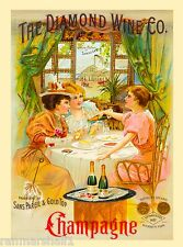 Diamond Wine Company Champagne Wine Vintage Advertisement Art Poster