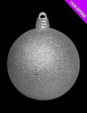 15cm Giant Silver Glitter Bauble - Christmas Tree Decorations (DP222)