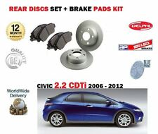 FOR HONDA CIVIC  2.2TD CDTi 2006-2012 NEW REAR BRAKE DISCS SET AND DISC PADS KIT